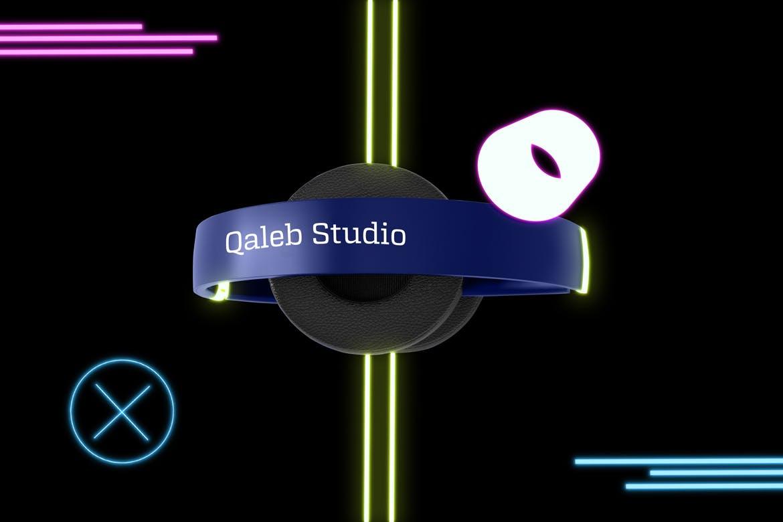 高端多彩耳机素材模板样机展示Neon Headphones Mockup
