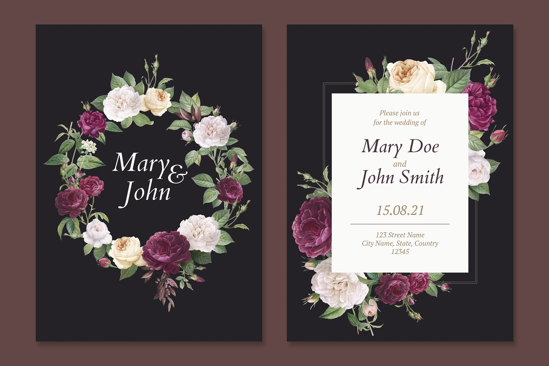 花艺婚礼邀请卡模板Floral wedding invitation card Template Du3l8ay
