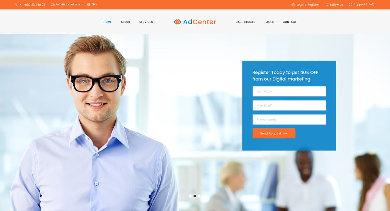 WEB欧美现代简约风格商务网站PSD模版 Adcenter - Digital Marketing PSD Template