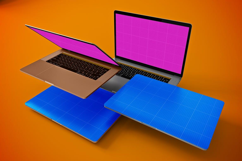 笔记本电脑多视角素材模板样机Floating MacBook Pro