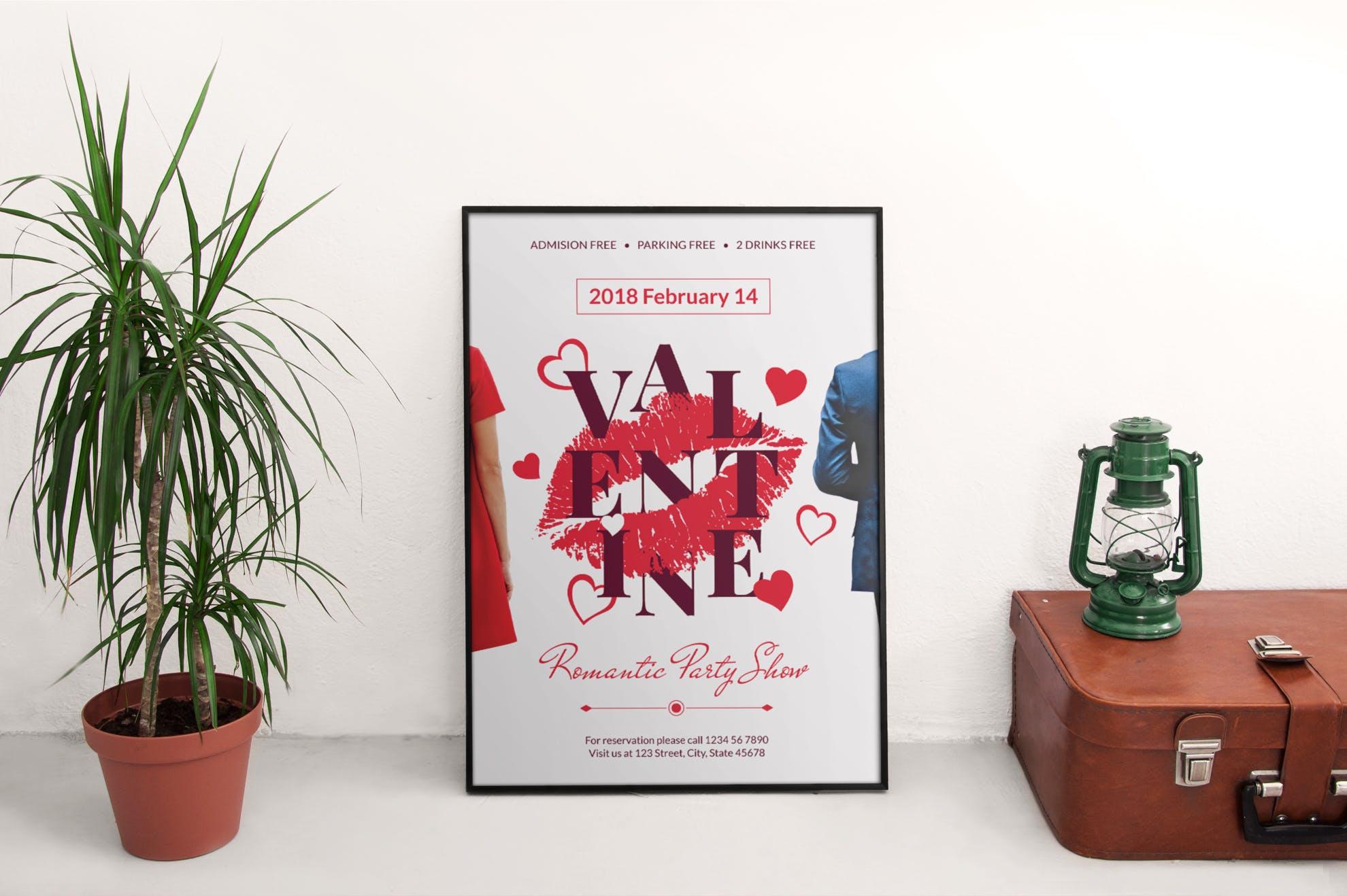 情人节传单和海报模板Valentine\'s Day Flyer and Poster Template