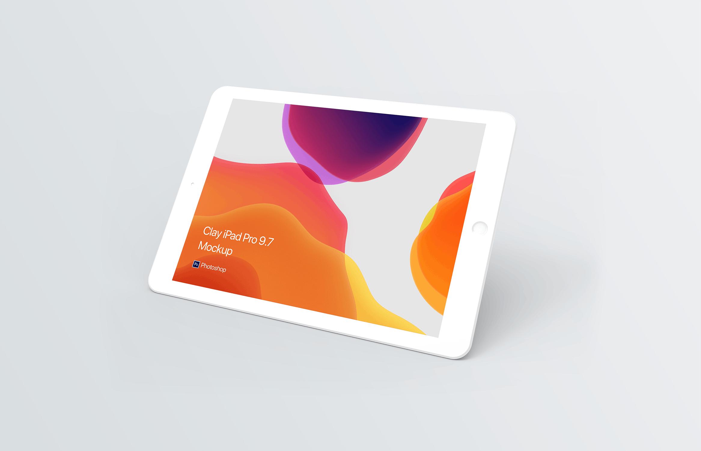 iPad样机苹果平板电脑素材模板样机展示Clay iPad Mockup