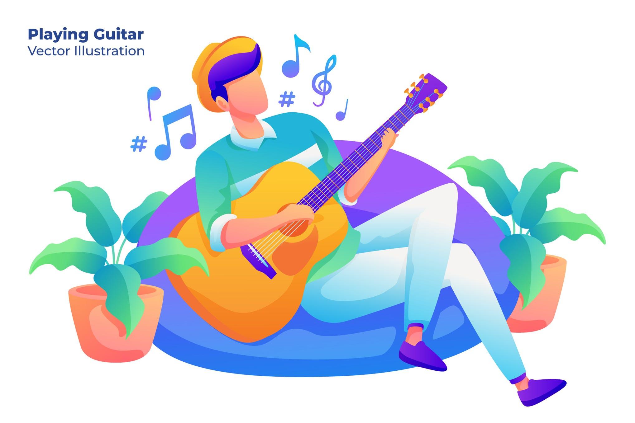 音乐排队插画设计素材下载Playing Guitar - Vector Illustration