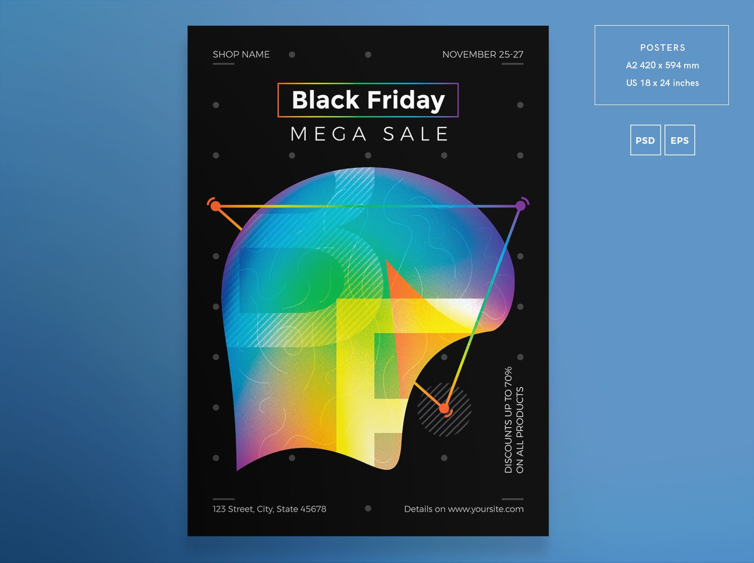 黑色星期五销售传单和海报模板Black Friday Sale Flyer and Poster Template