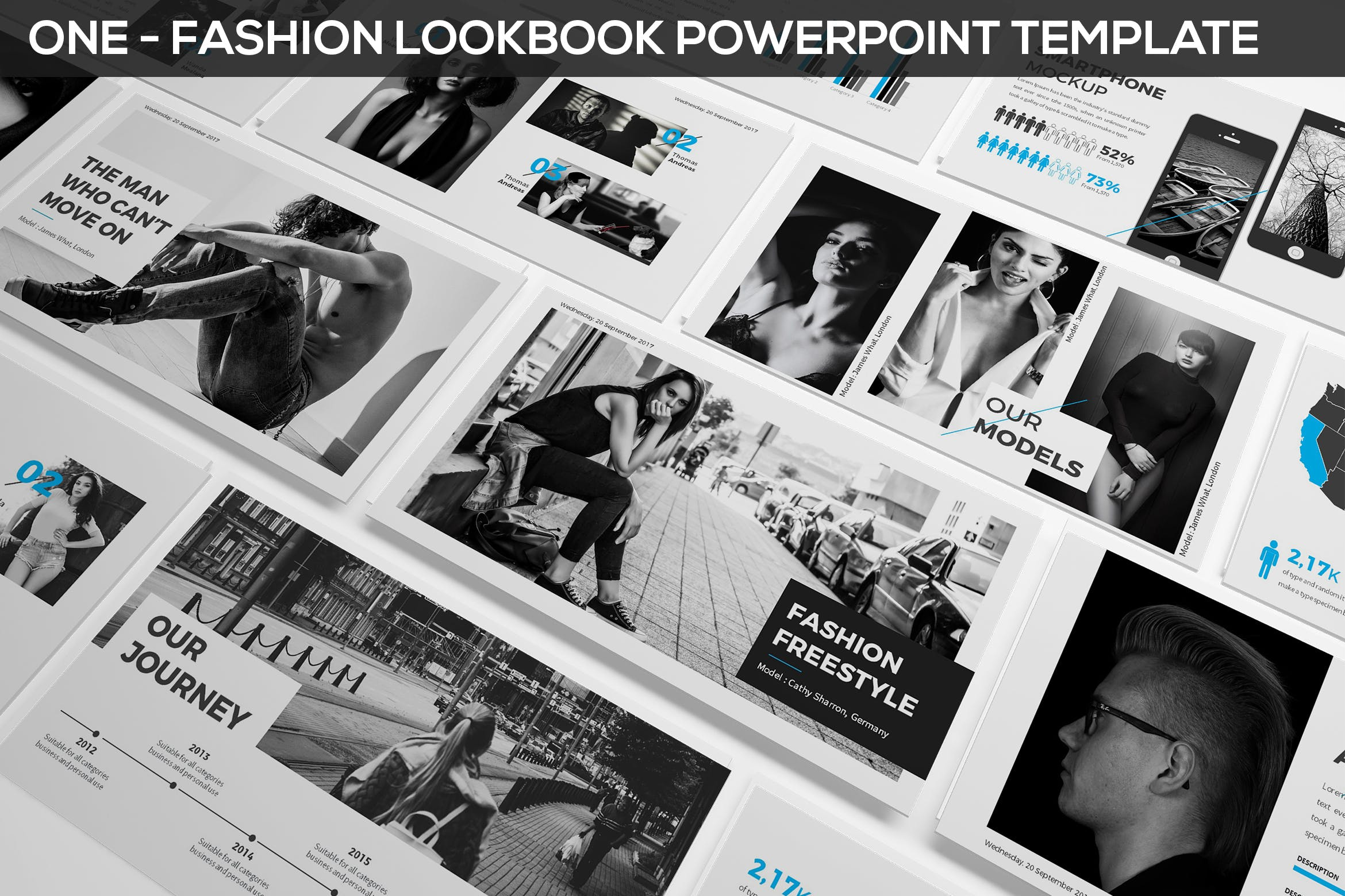 时尚与摄影演示PPT模板 ONE - Fashion & Photography Presentation Template