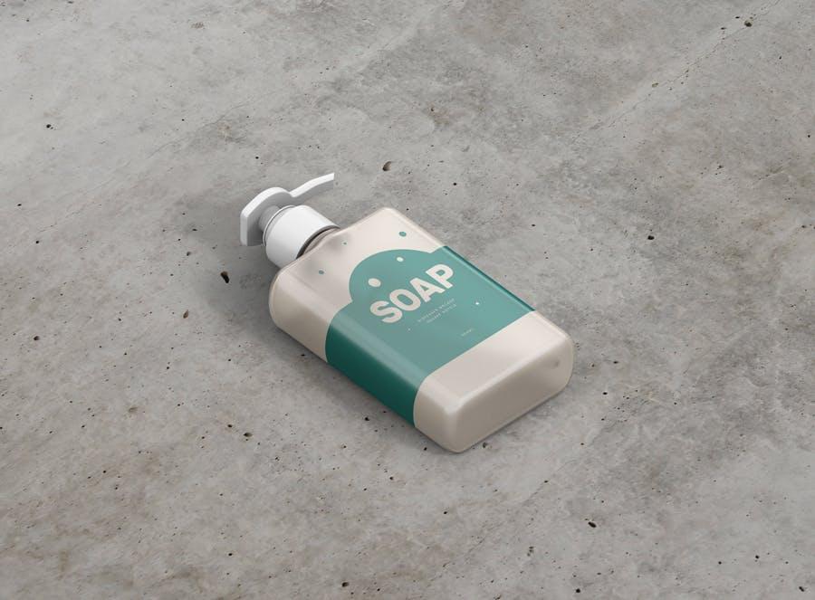 洗化用品按压式挤压瓶包装样机Soap Dispenser Mockup Rectangle