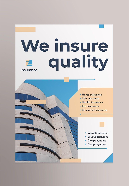 保险代理活动宣传类海报模板素材Insurance Agency Poster
