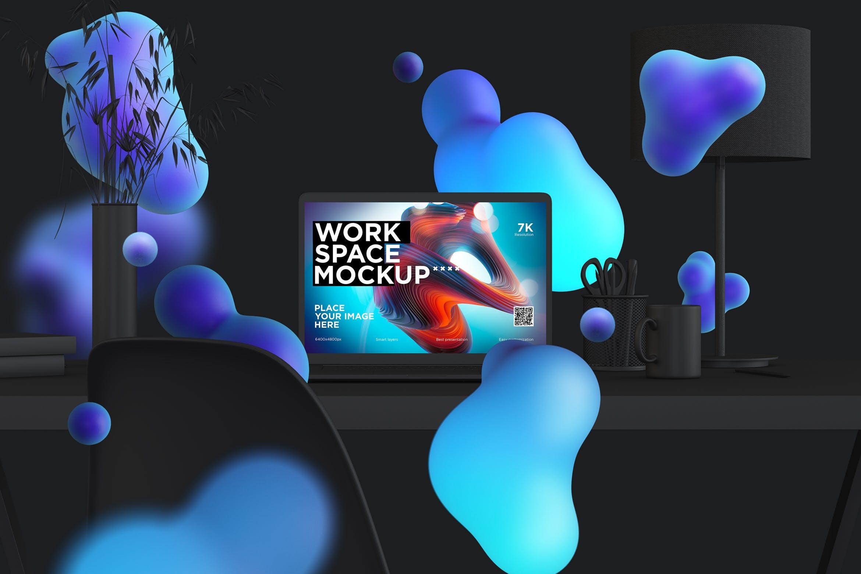 工作区办公桌样机展示素材模板workspace desk clay mockup with macbook pro