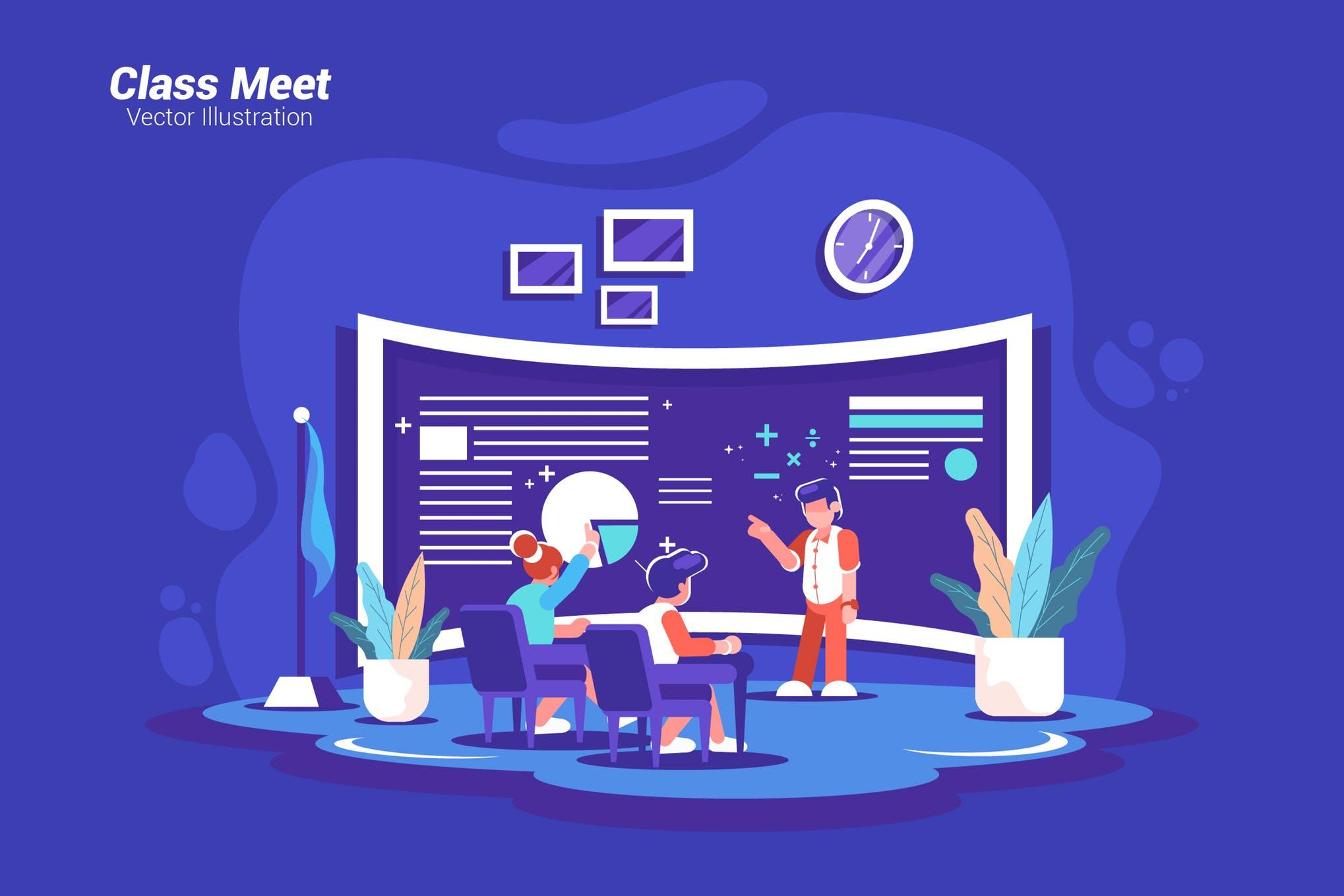 班级见面场景插画素材下载Class Meet - Vector Illustration