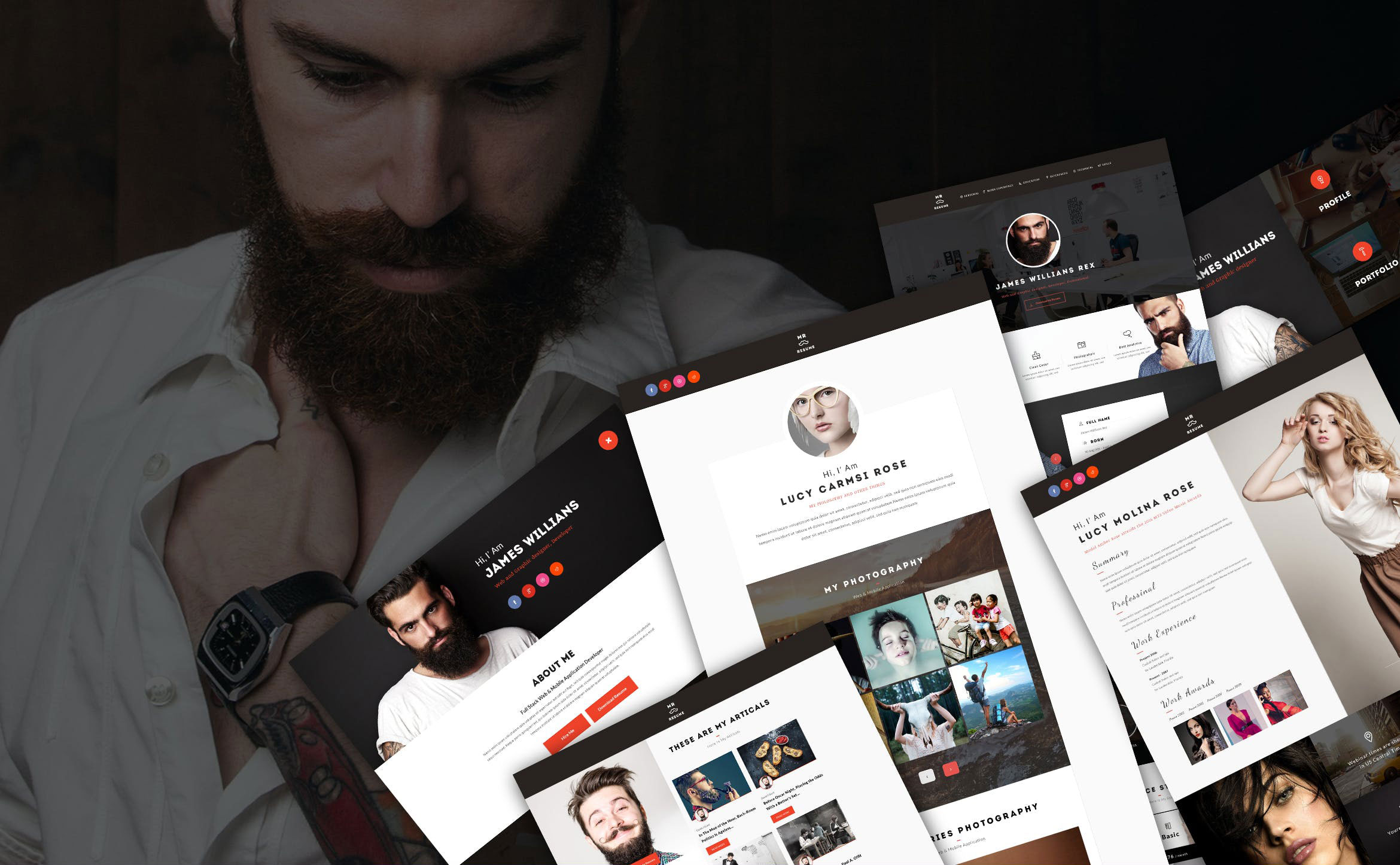 WEB端电子商务购物网站PSD Mr.Resume - One Page Resume Personal PSD Template