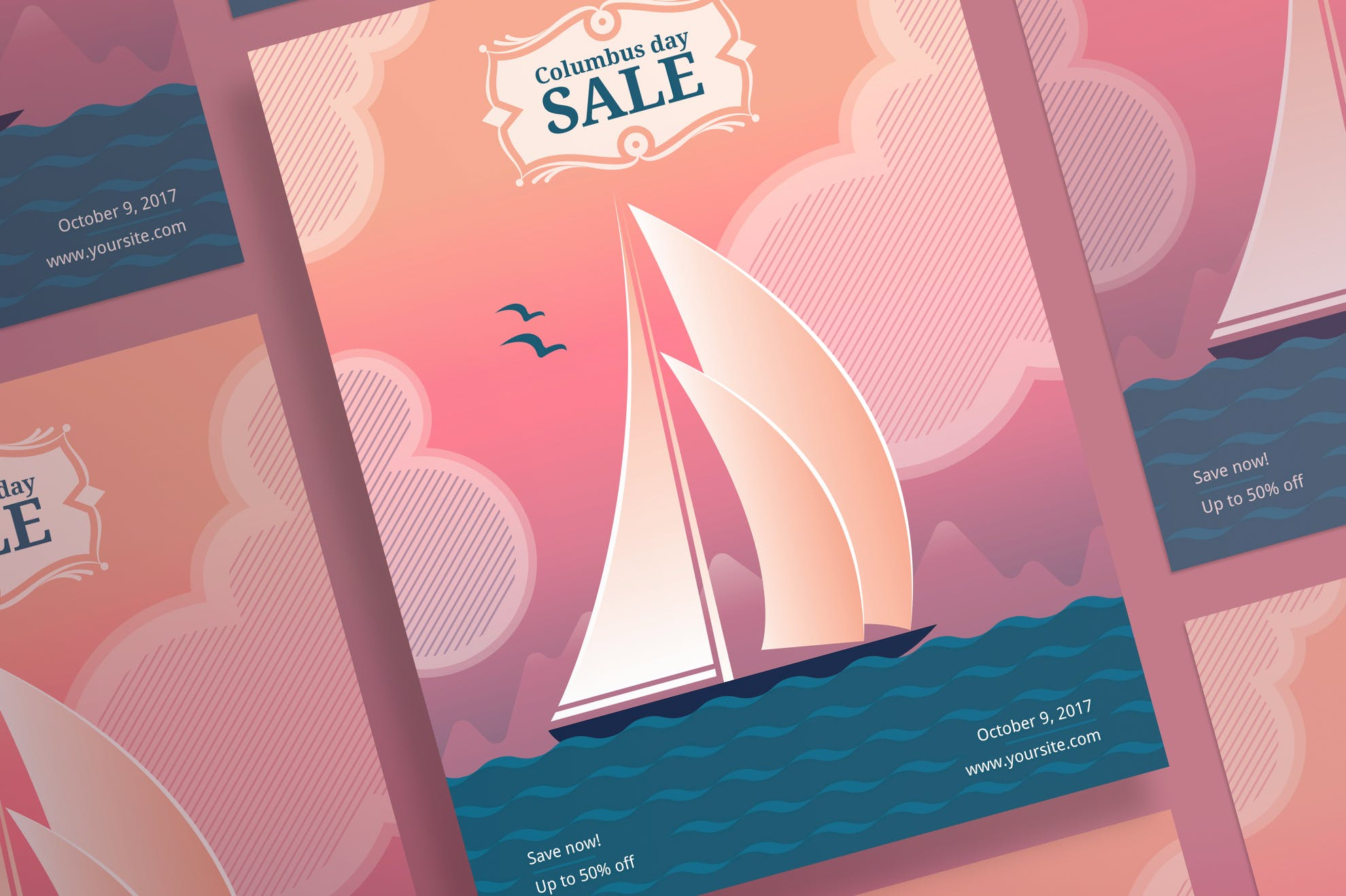 哥伦布日销售传单和海报模板Columbus Day Sale Flyer and Poster Template