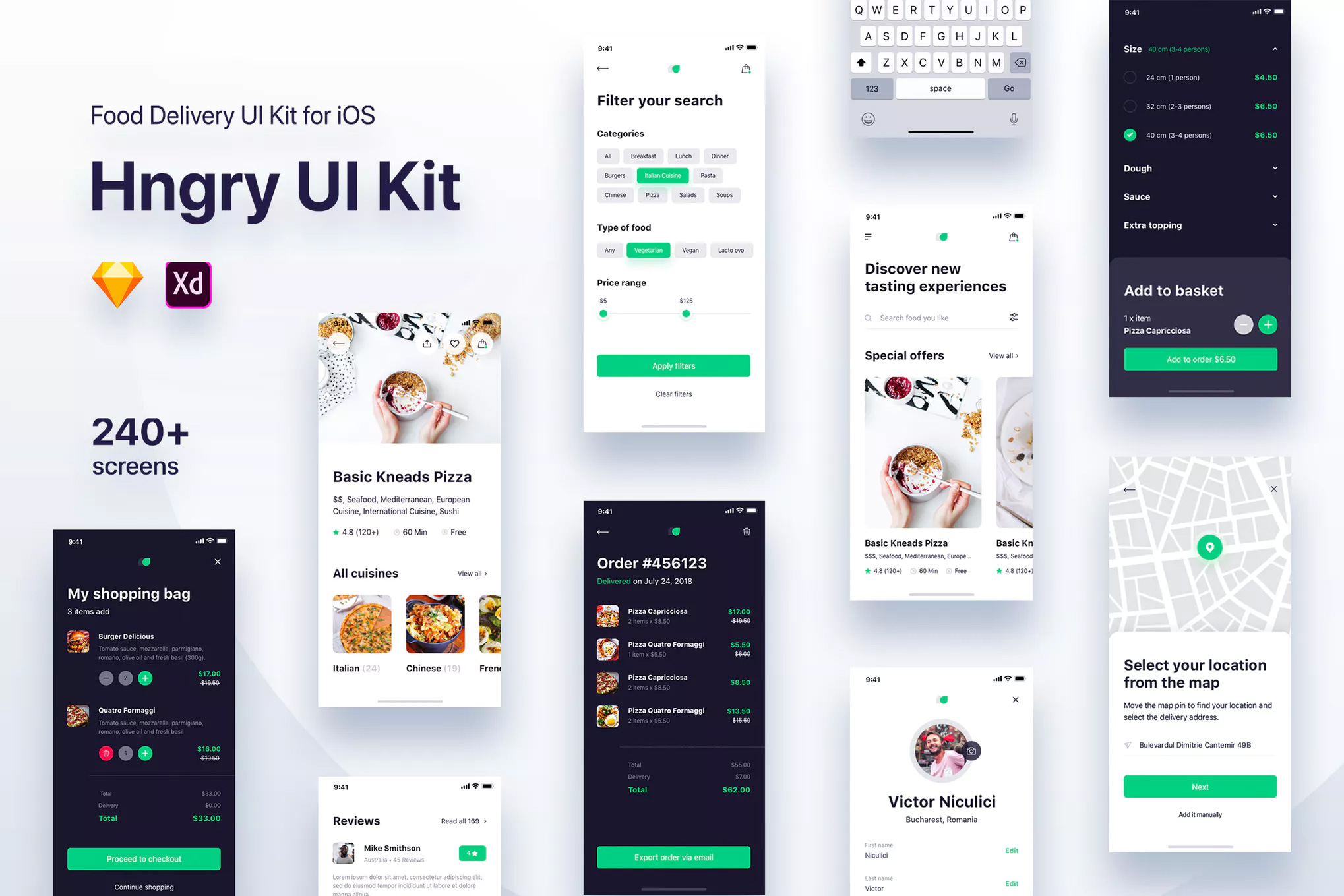 IOS风格食品行业UI APP  Hngry UI Kit - Food Delivery UI Kit