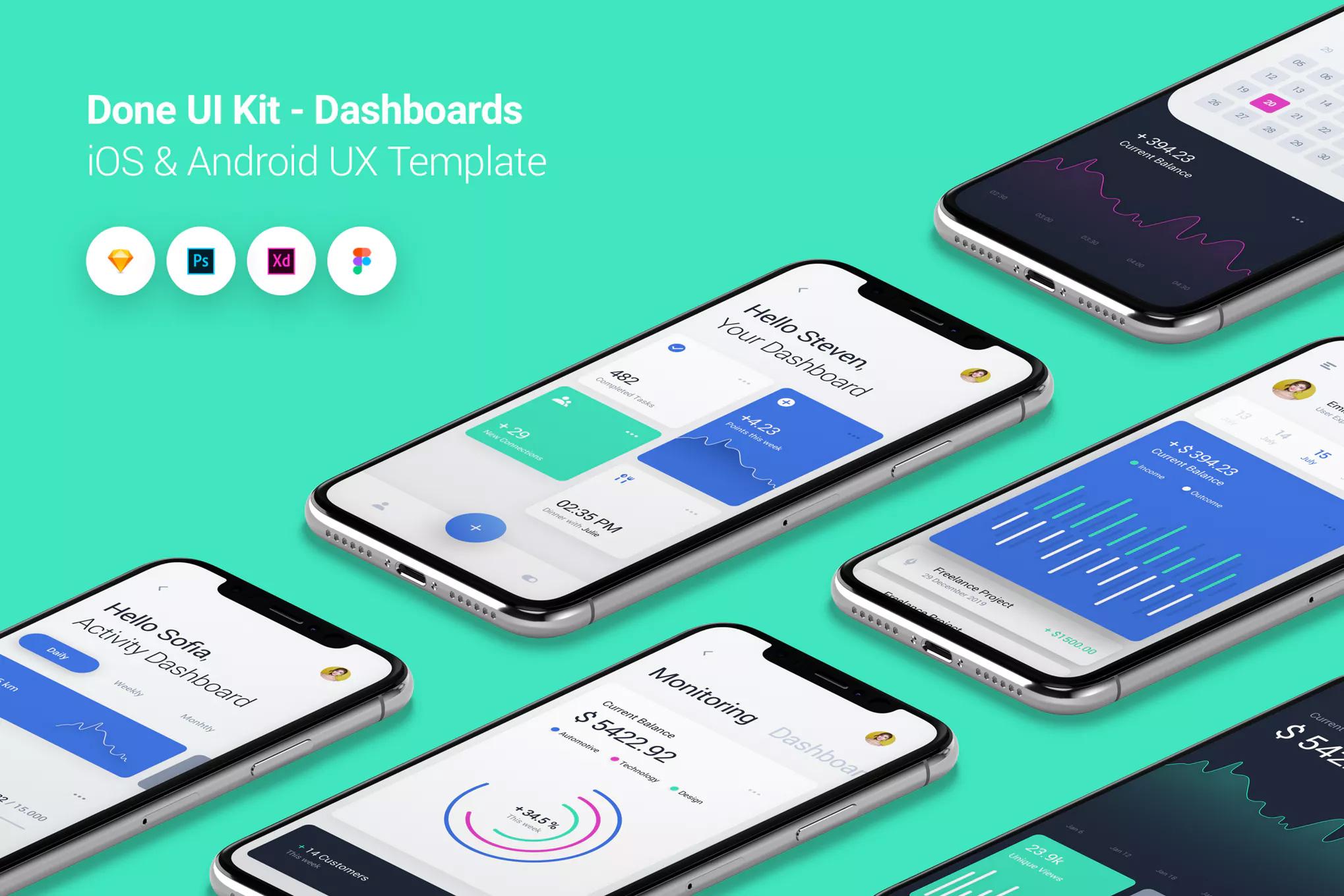 扁平化现代简约IOS12风格移动端数据分析UI  Done UI Kit - Dashboards by PanoplyStore