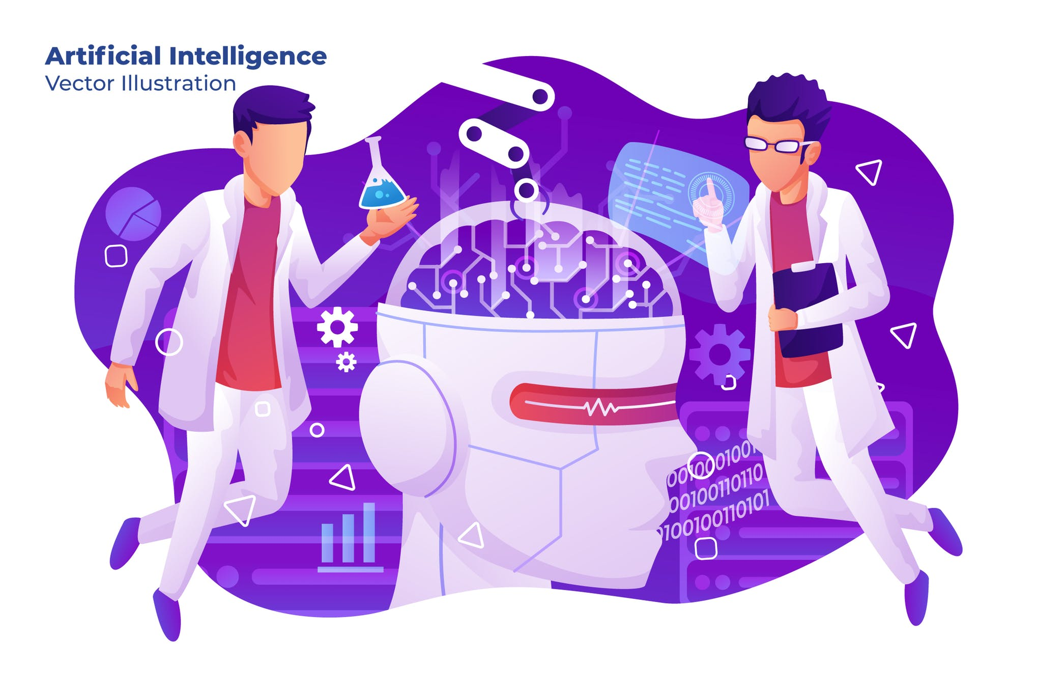 人工智能智能时代系列插画设计素材下载Artificial Intelligence - Vector Illustration