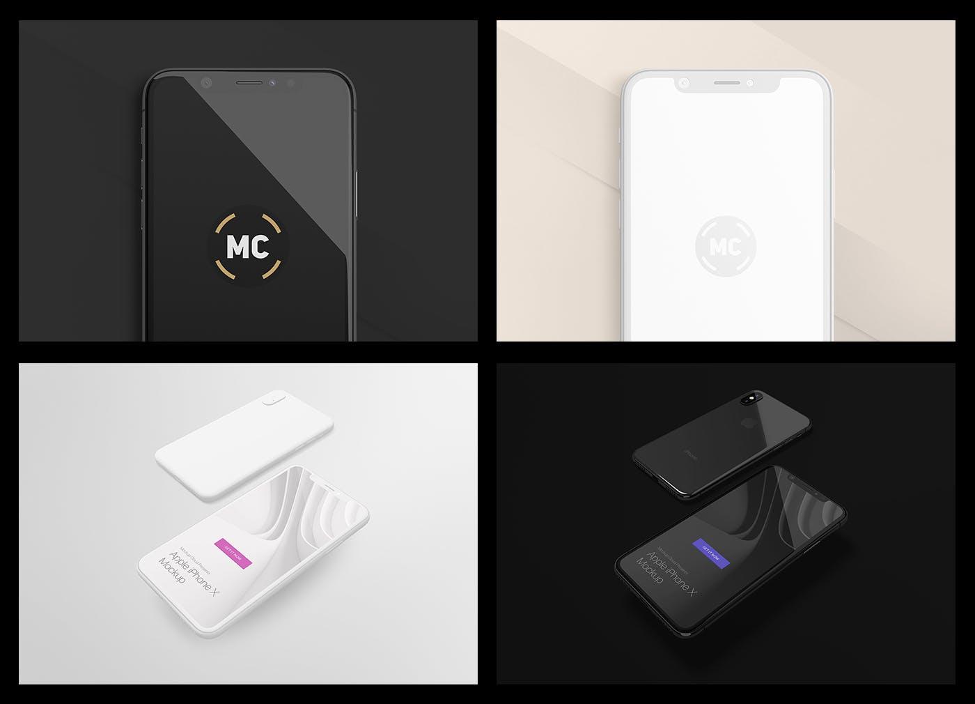 苹果手机iPhone X多角度样机模板组合  智能贴图样机iPhone X Mockup Set
