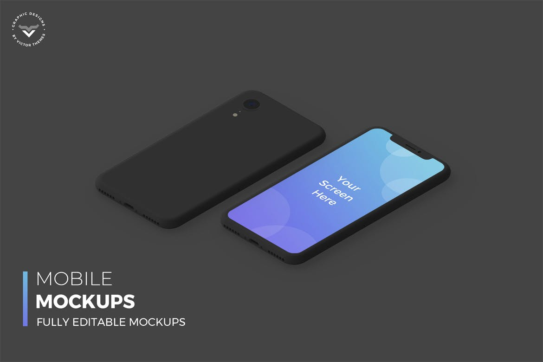 暗黑主题手机模板素材样机Mobile Dark Mockups