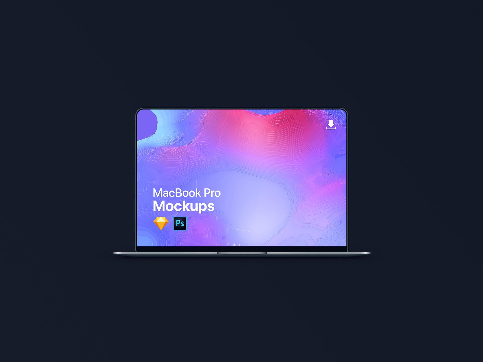新版MacBook Pro场景样机素材模板展示The New MacBook Pro Mockup | Photoshop + Sketch