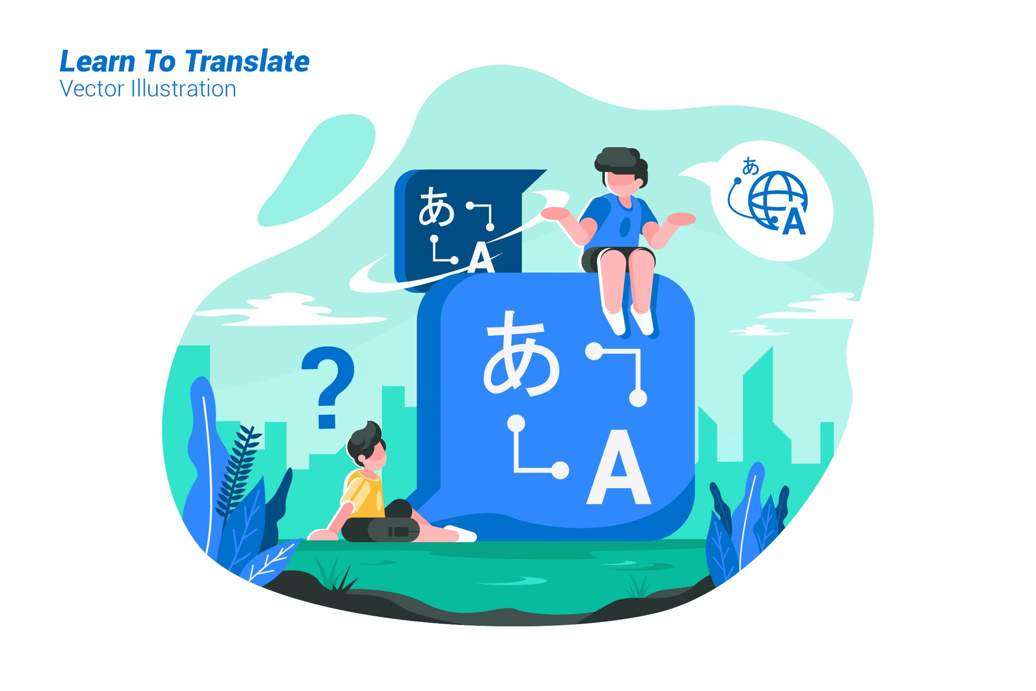 学习翻译场景插画素材模板素材下载Learn To Translate - Vector Illustration