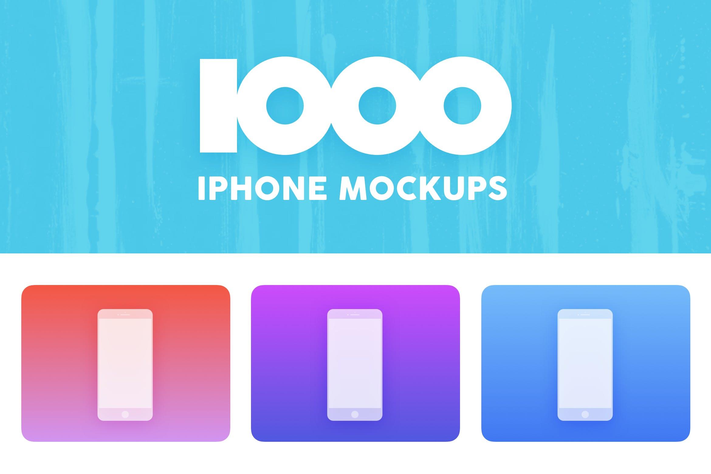 1000白色iPhone样机素材展示1000 White iPhone Mockups