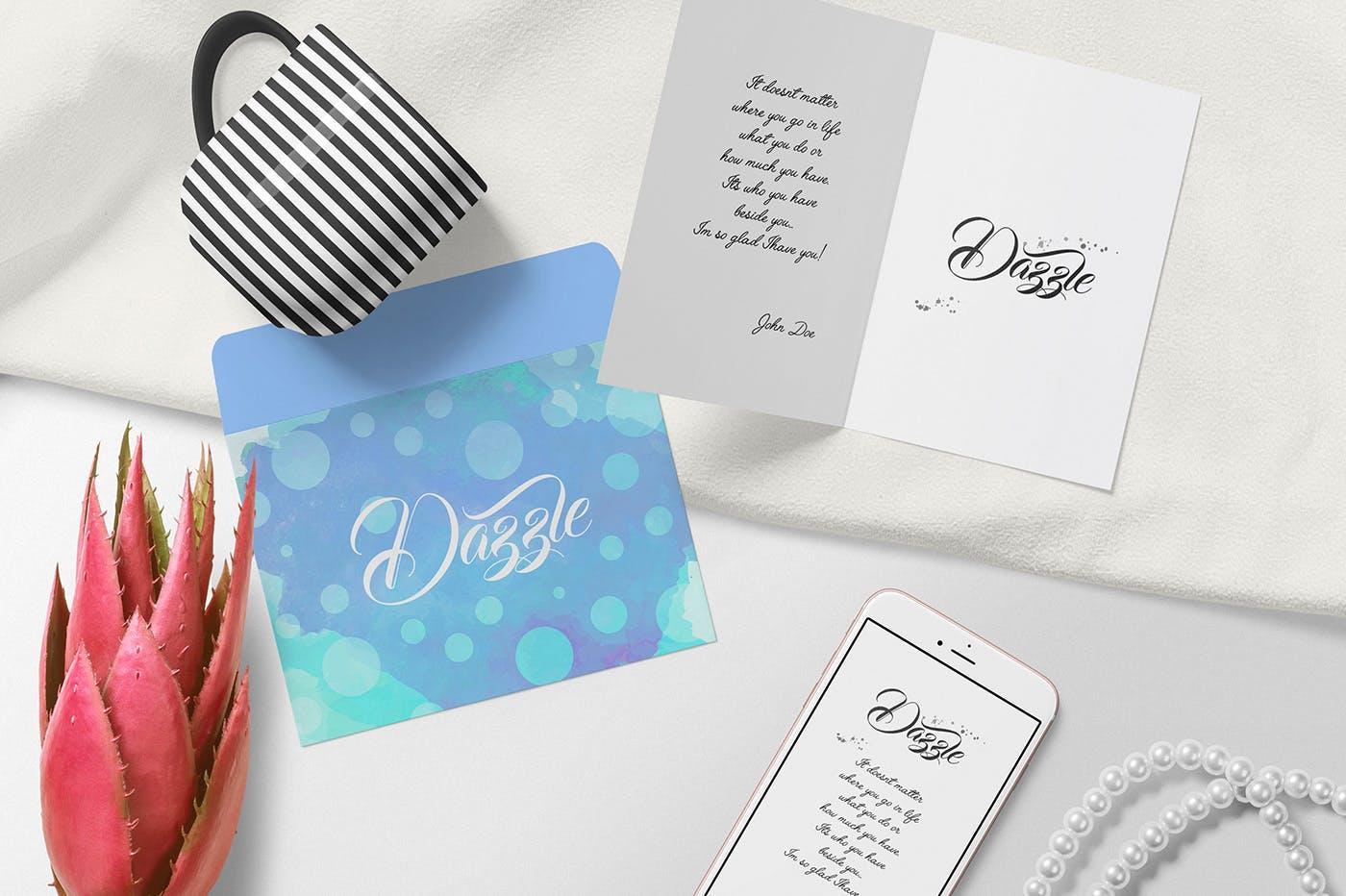 邀请函杯子样机笔记本样机素材模板 Gorgeous Card & Envelope Mockup Scenes