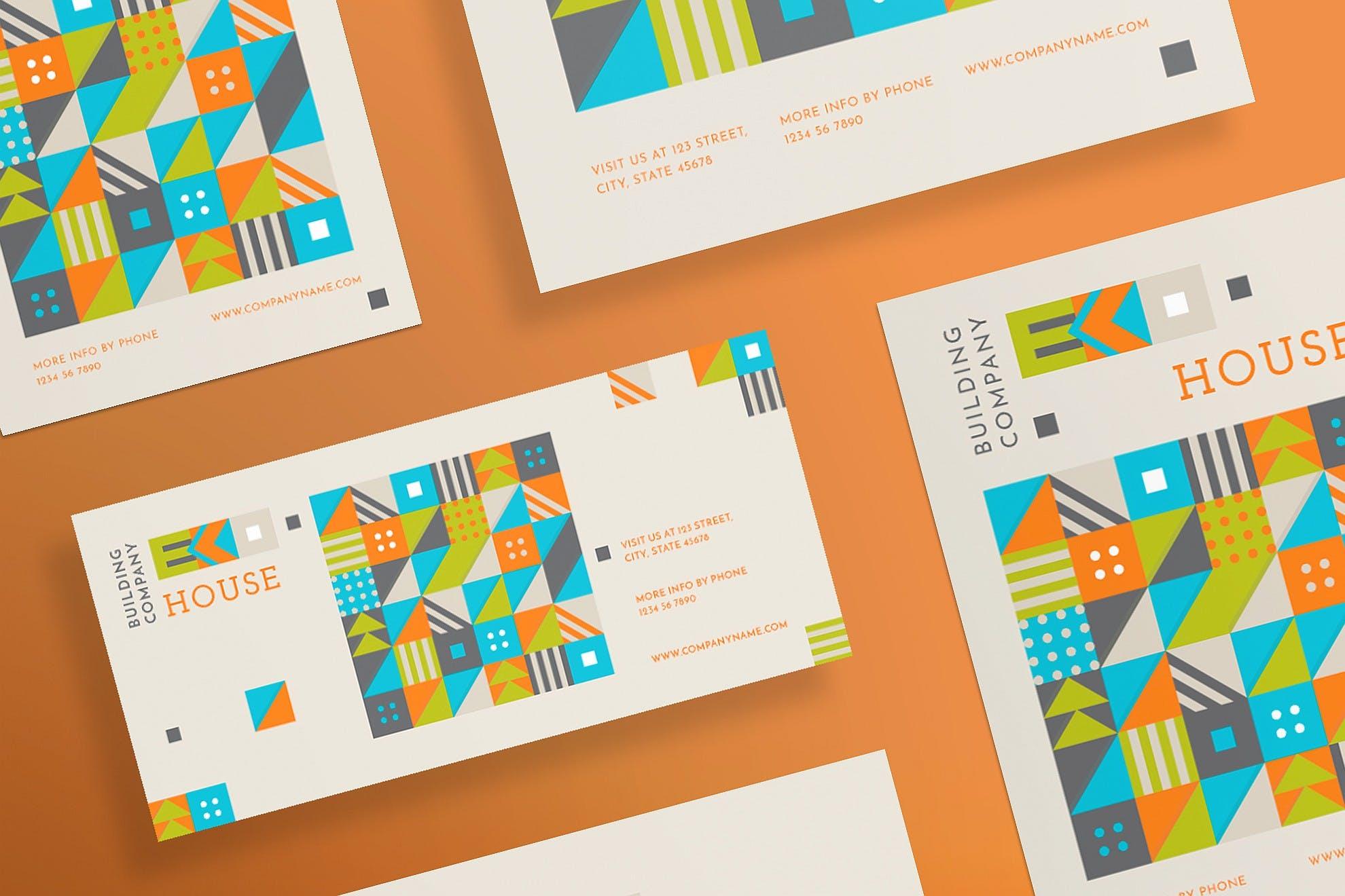 几何图形色彩拼图生态屋传单和海报模板Eco House Flyer and Poster Template