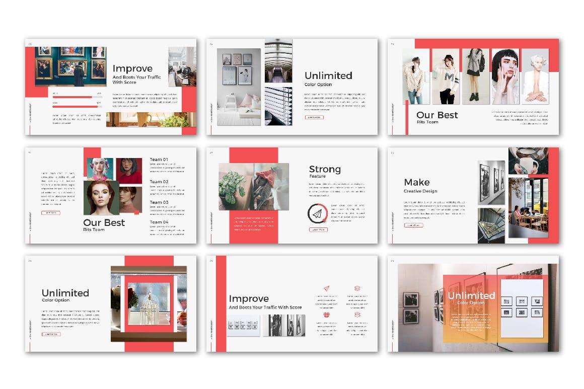 欧美时尚现代风格PPT模版 RITS Powerpoint
