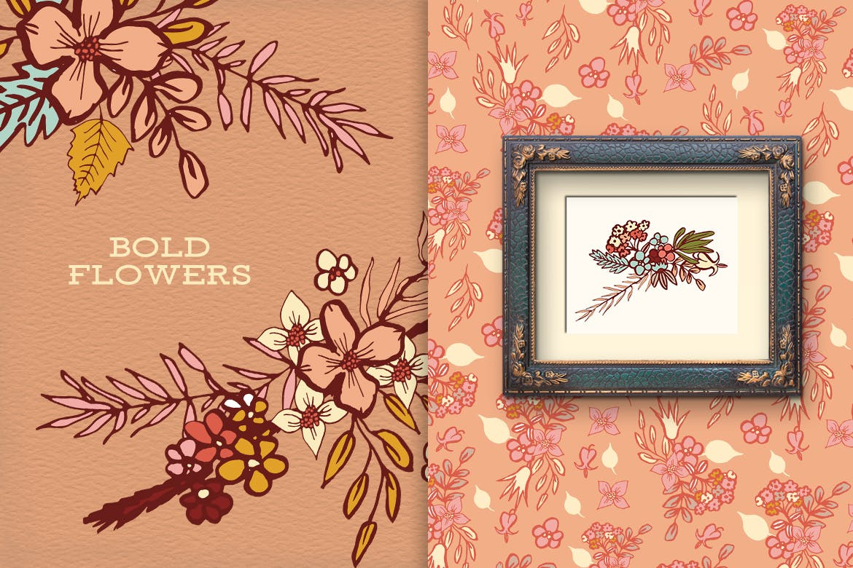 创意鲜花剪贴画图树叶子图案背景纹理Bold Flowers