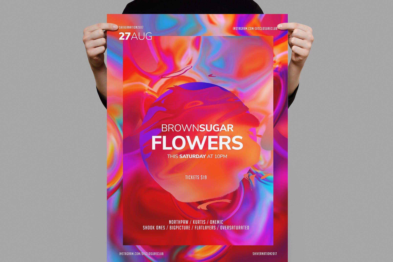 油画肌理色彩渐变宣传 传单/海报模板Flowers Flyer / Poster Template
