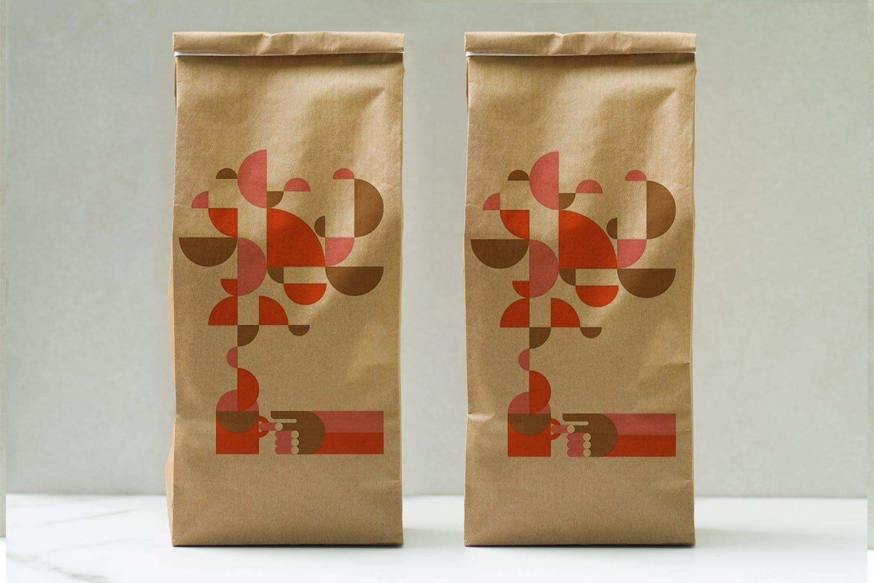 咖啡自封袋样机封面模板素材展示Coffee Craft Bag Mockup