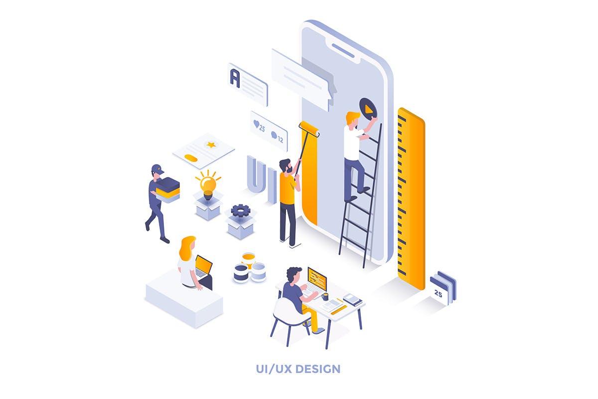 2.5D多场景创意插画卡通人物卡通场景设计素材下载Modern flat design isometric illustrations