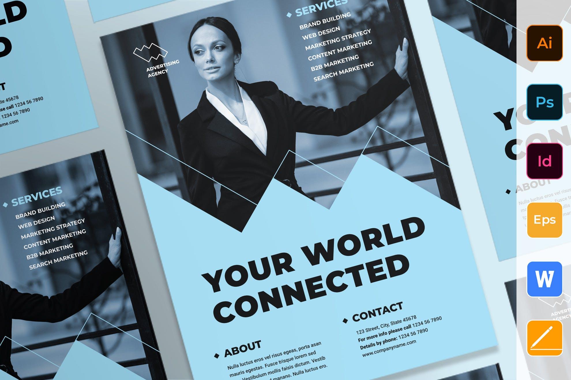 广告顾问企业宣传 传单/海报模板素材Advertising Consultant Poster插图