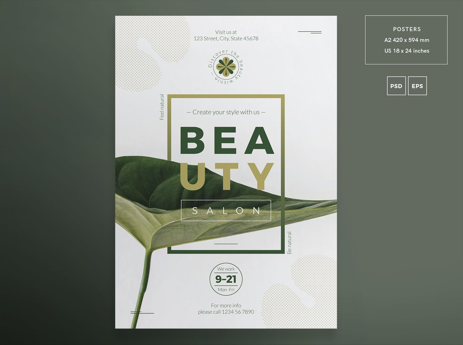 时尚创意海报模板展示Beauty Salon Flyer and Poster Template Eddk64