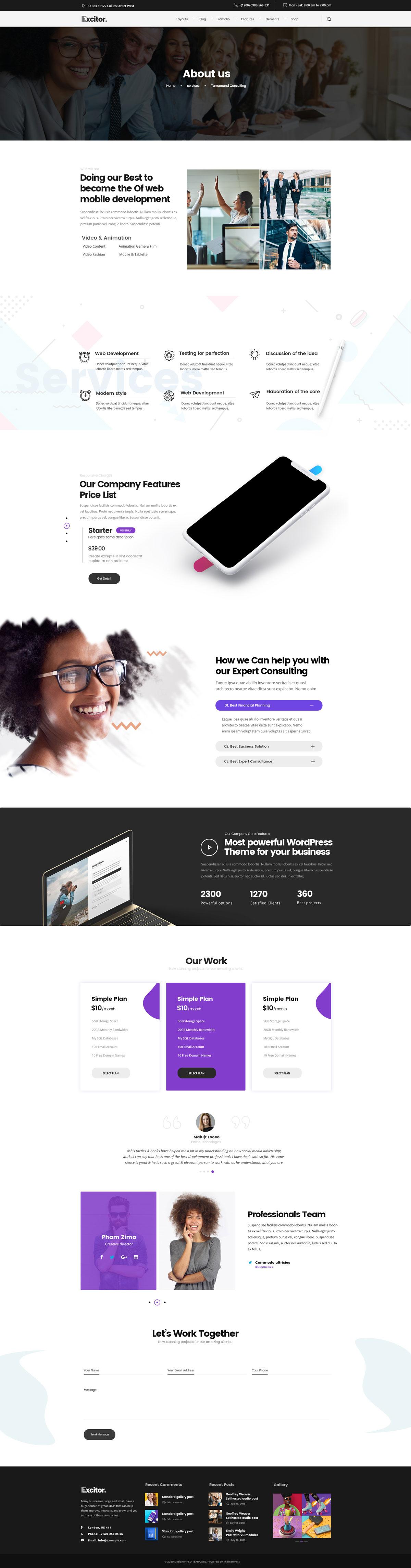 WEB端商务企业网站PSD  Multipurpose01 Business, Portfolio, Agencies Website