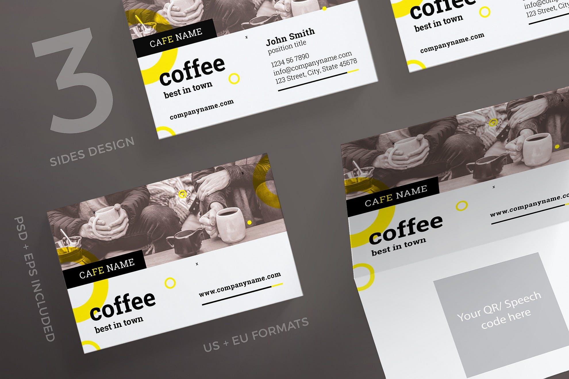 咖啡行业厅名片模板展示Coffee Shop Business Card Template