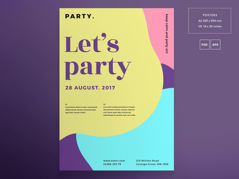 彩色派传单和海报模板Color Party Flyer and Poster Template