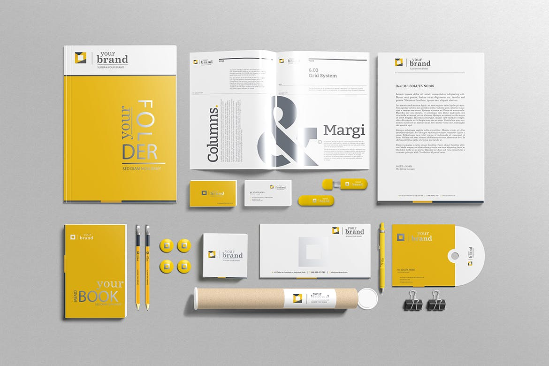 高端精致企业品牌样机素材模板下载Branding-Stationery Mockups V3