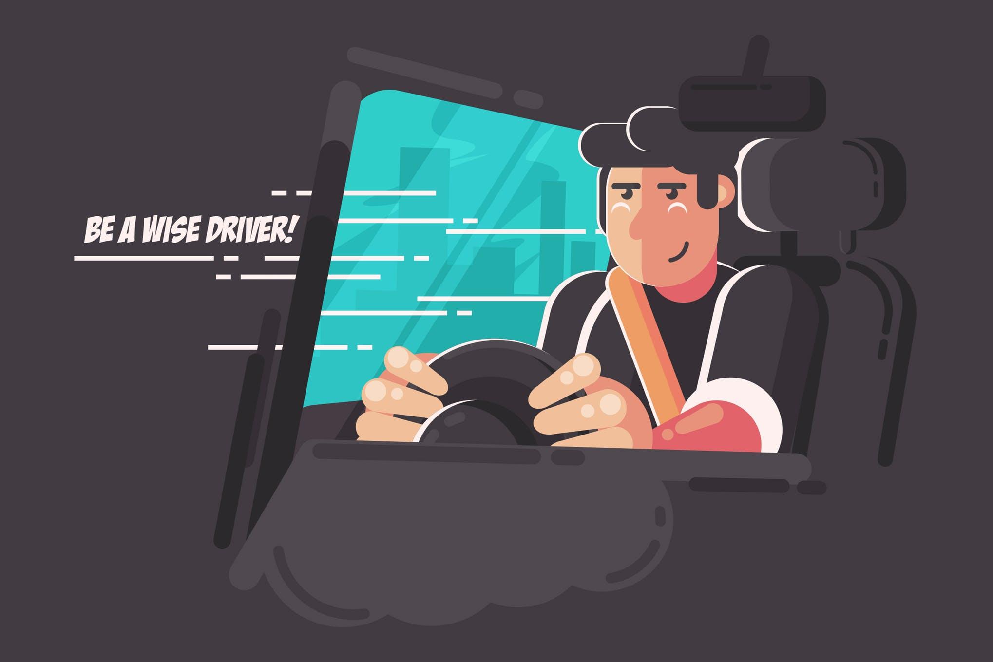 司机驾驶场景画面素材下载Be a Wise Driver!-Vector Activity