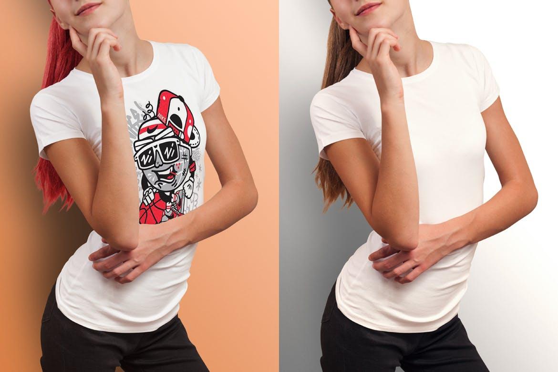 圆领T恤服装模拟女装模板 Crew Neck T-shirt Mock-up Female Version