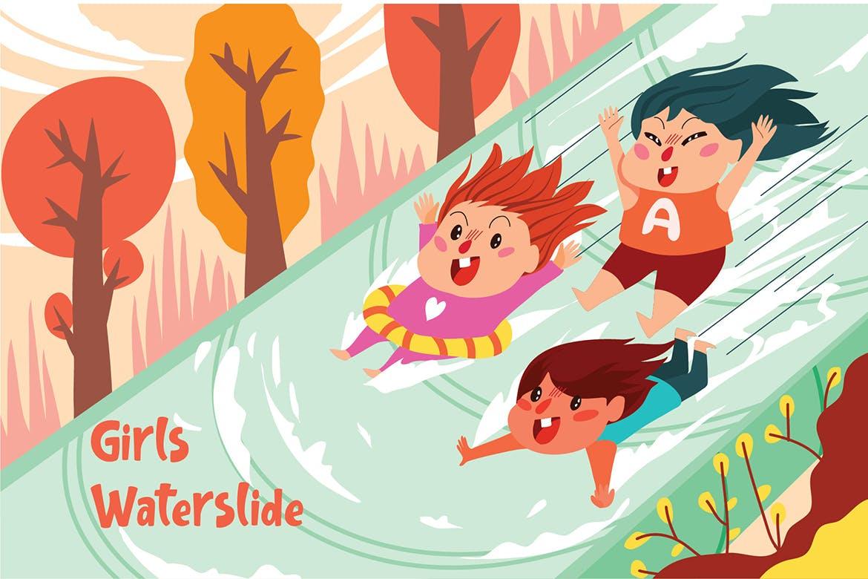 卡通女孩水滑道游玩场景动态插画素材下载Girls Waterslide - Vector Illustration