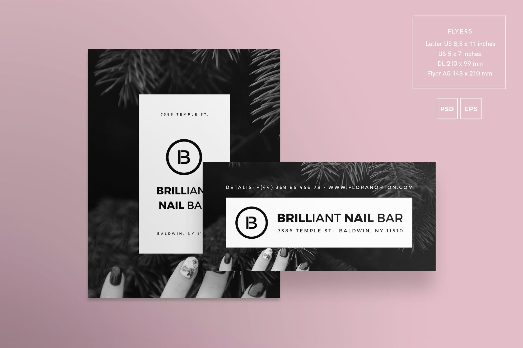 美甲沙龙传单和海报模板Nail Salon Flyer and Poster Template  Kjp4rc