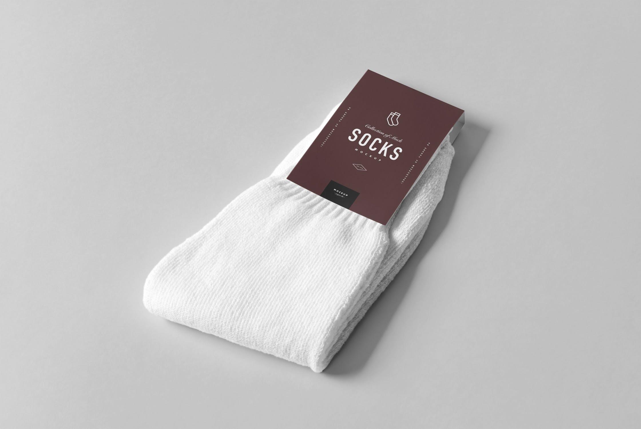 无印风袜子包装样机展示下载Socks Package Mock-up