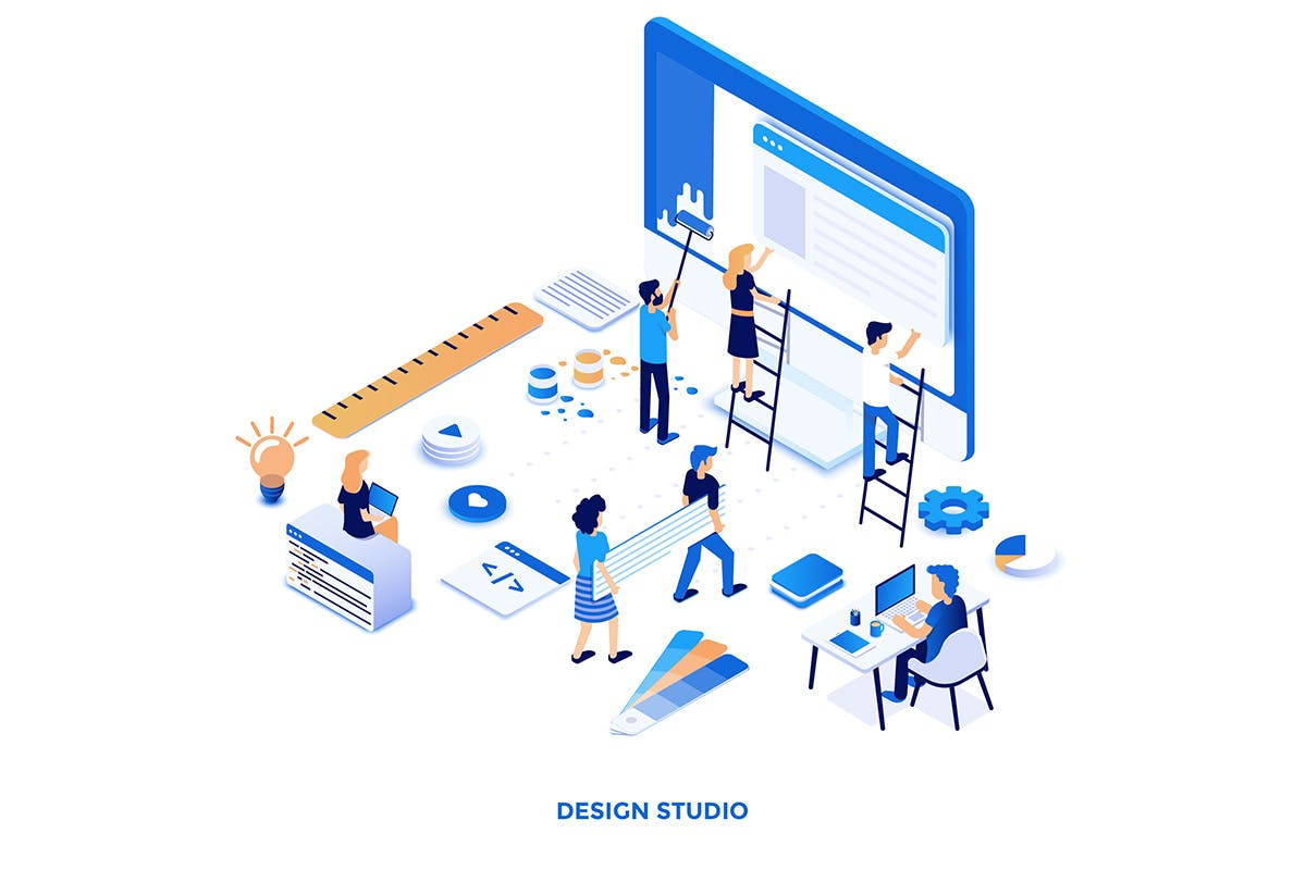 2.5D矢量插画素材模板下载Modern flat design isometric illustrations