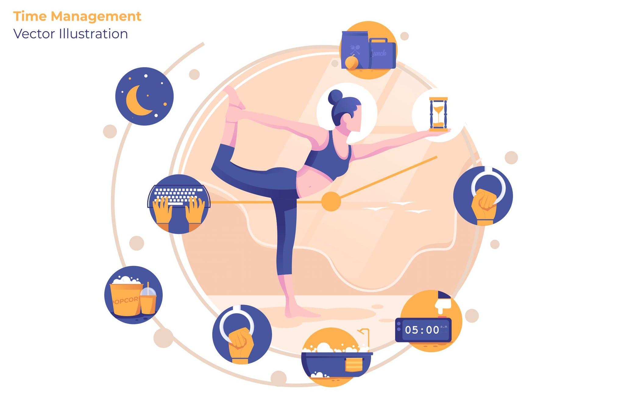 时间规划安排场景插画素材下载Time Management - Vector Illustration