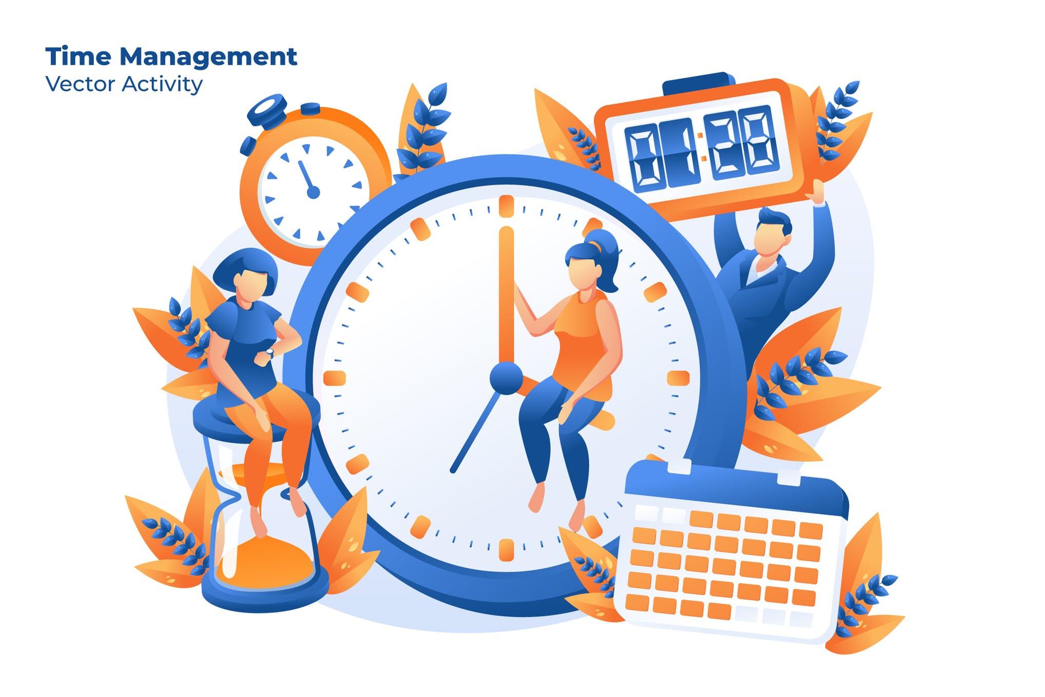 时间创意插画手绘风素材下载Time Management - Vector Illustration
