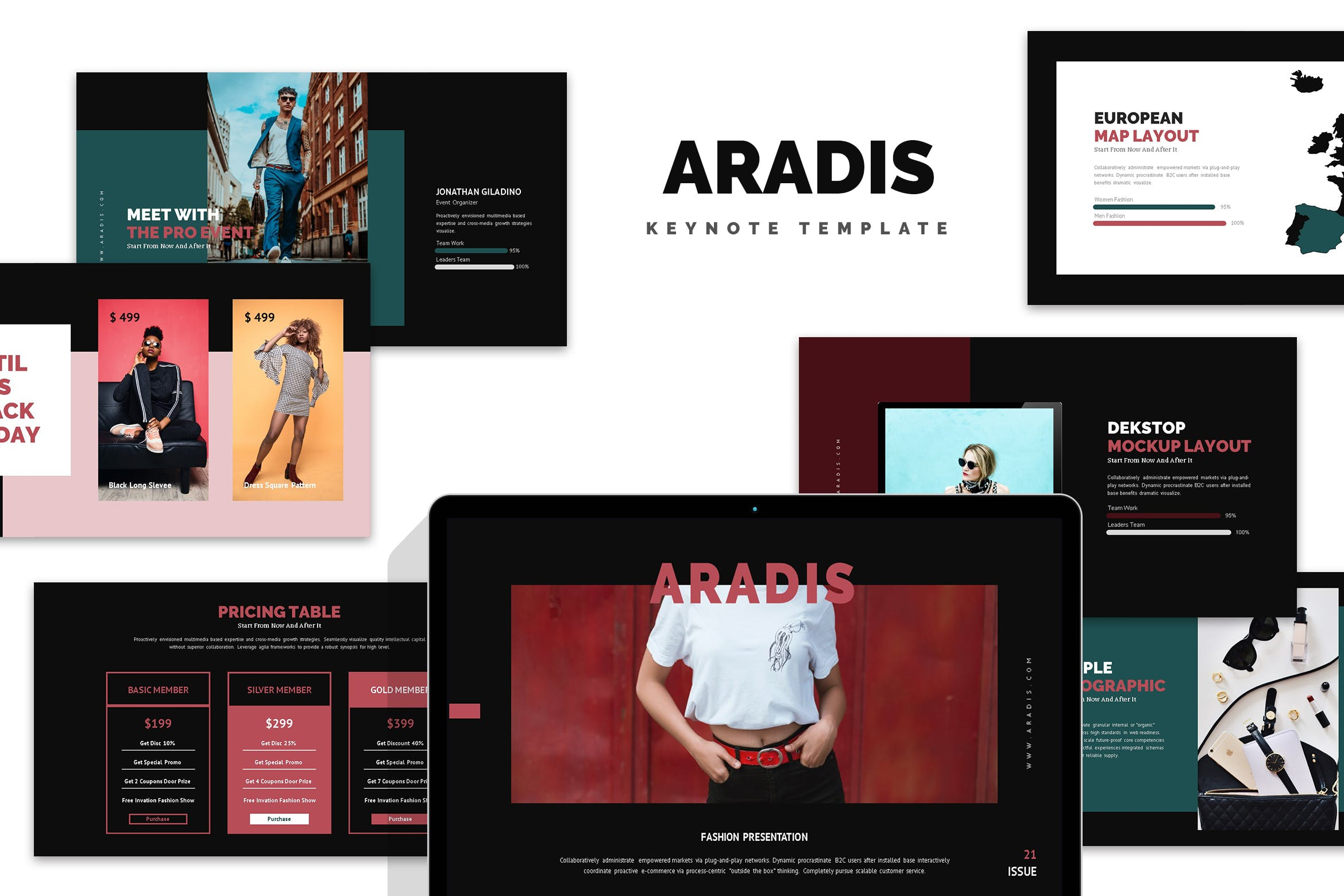欧美时尚现代服装行业Keynote模版 Aradis : Black Friday Keynote Template
