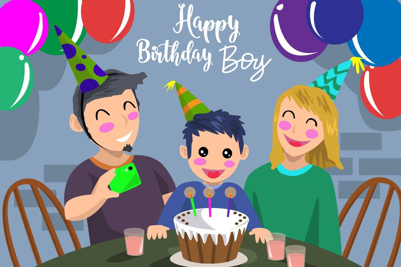 手绘卡通男孩一家人生日快乐-矢量图素材 Birthday Boy - Vector Illustration
