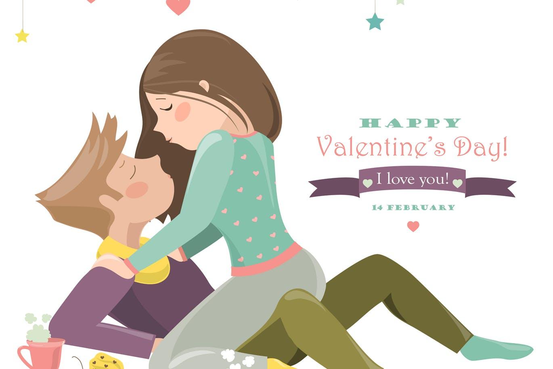 小情侣浪漫庆祝情人节的恩爱的夫妇 卡通人物场景手绘 Couple in love celebrating Valentines Day