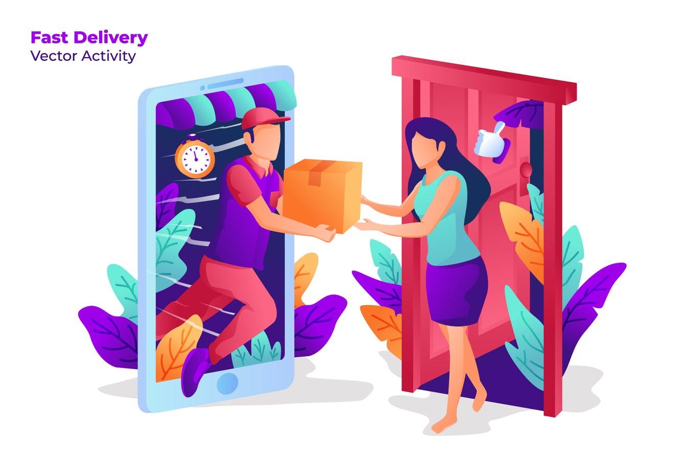快速送货上门交货 手绘卡通人物场景- 矢量图 Fast Delivery - Vector Illustration
