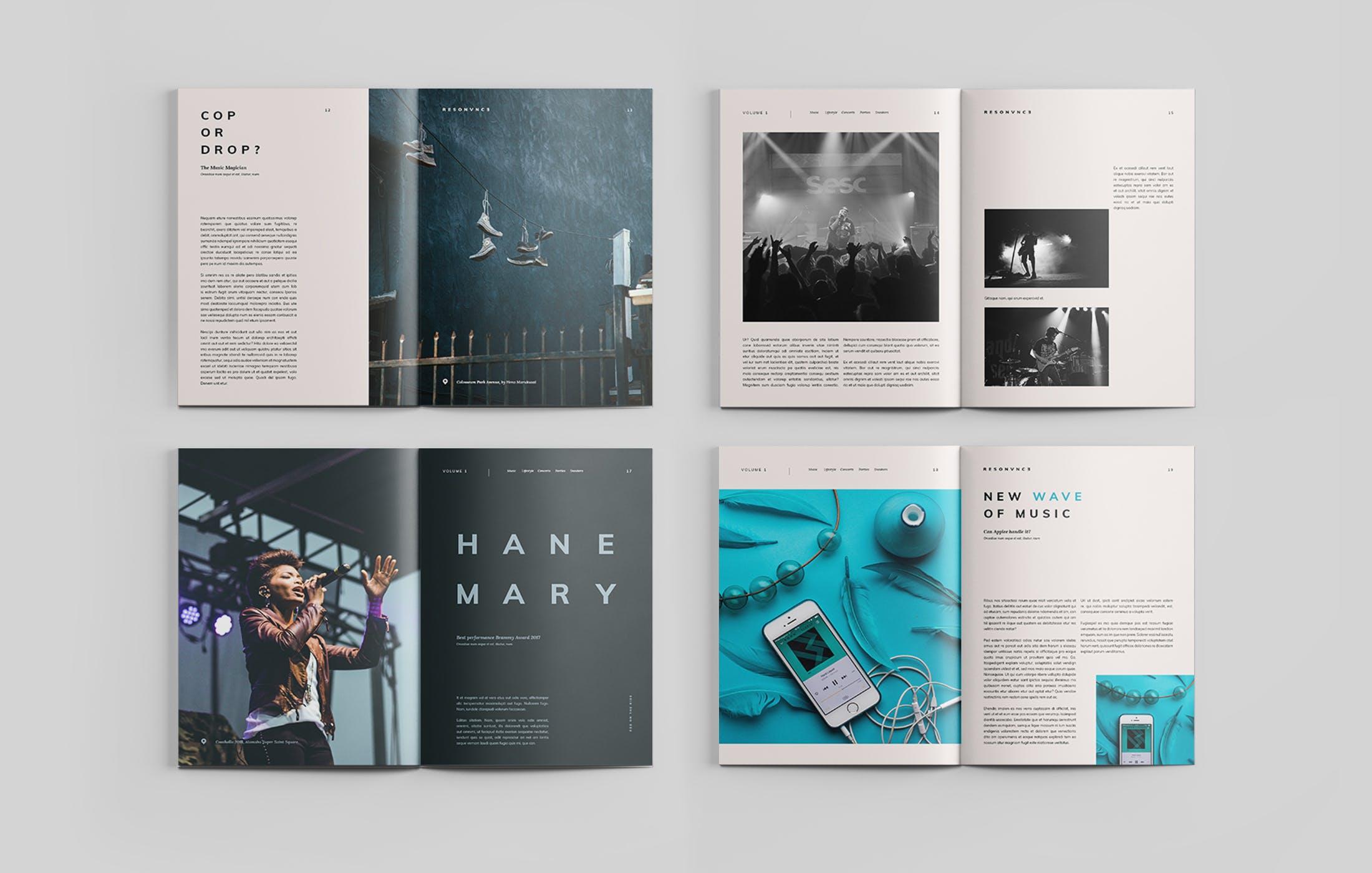 音乐派对杂志画册模板素材样机画册Magazine插图(3)