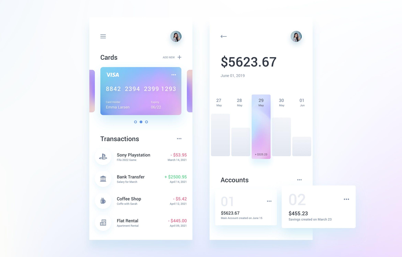 IOS12风格金融APP UI界面  Finance Mobile App Template UI Kit